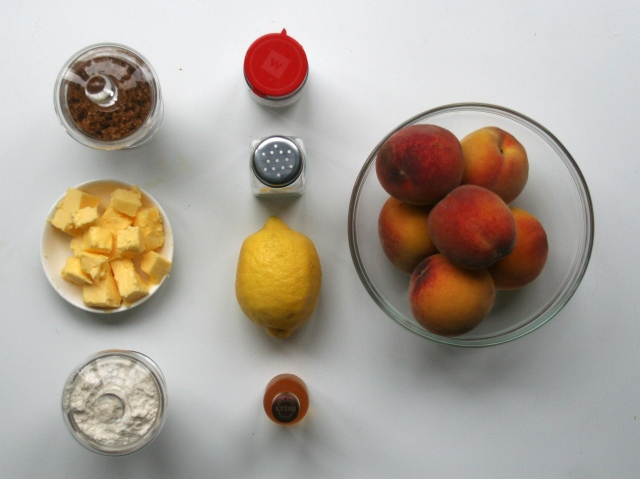 Lemon Peaches Flour Sugar Salt Spices