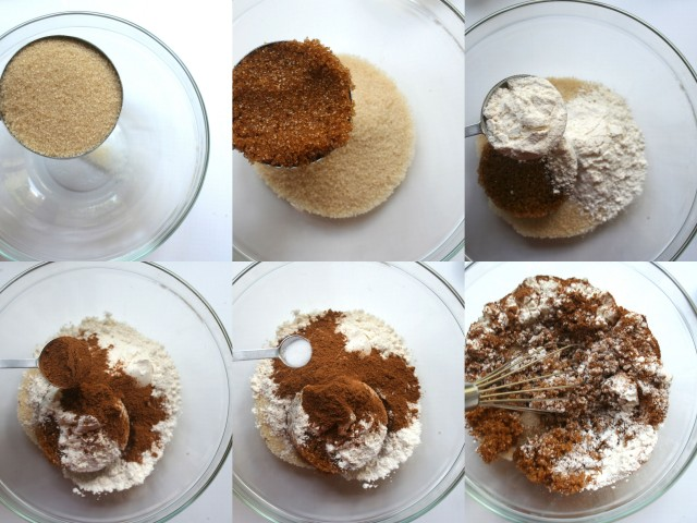 In a medium size bowl add both granulated and treacle (brown) sugar, spices and salt. Mix well. Set aside.