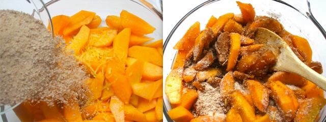 Sprinkle flour/sugar mixture onto peaches and give it a good mix. The peaches will start emitting their juices.