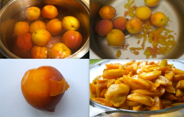 We blanched the peaches and plunged them into a ice bath in preparation for easy peeling. Uh, no such luck. They looked beautiful in the water but, they were not easy to peel. So, on subsequent attempts, just peeled them with a paring knife. Make sure your knife is suppa sharp.