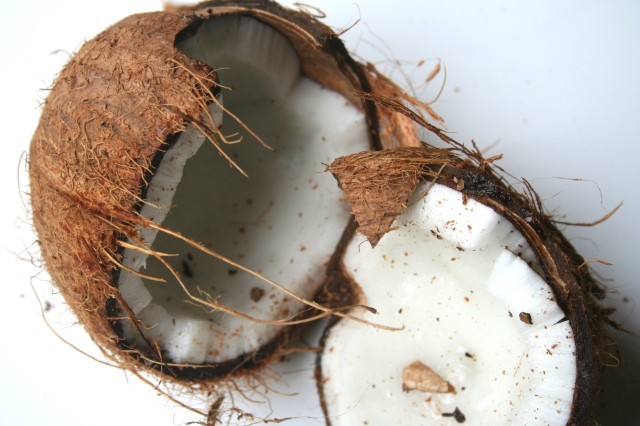 If using fresh coconut, crack it open with a hammer. If it has liquid in it, you will want to crack it open over a large non breakable bowl inside the sink.