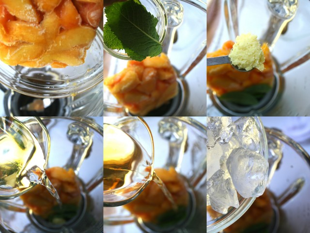 Add the frozen peaches to blender bowl. Then add the mint, ginger, sparkling, whiskey and ice. Blend until smooth.