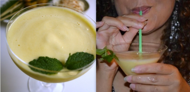 Pour. Enjoy. Photo on right taken by Rhonda Scott @ a progressive NYE Party. I served my Chicken Satay, Peanut Sauce and Pineapple Daiquiri!