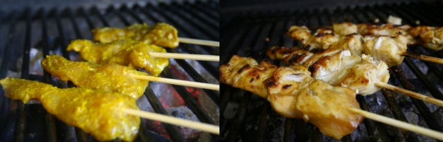 The key to the chicken not sticking is to turn it often at first. As soon as you put the chicken skewers on the grill, turn them a few times. Because they are rather thin pieces, they will cook quickly, so don't walk away. You can also broil (heat from the top) them in the oven.