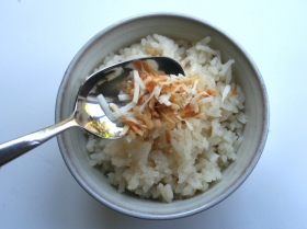 Sprinkle toasted coconut onto rice to serve.