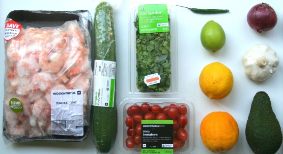 Main Ingredients: Prawns (Shrimp) Cucumber Coriander (Cilantro) Chili Lime Lemon Orange Red Onion Garlic Avo