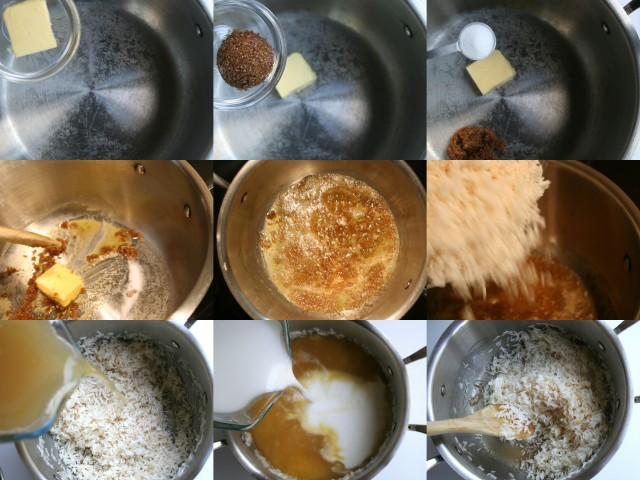 Put butter, sugar and salt (if using) into a medium heavy bottom pot on medium heat. When the butter is melted and the sugar dissolved, turn up to high heat and add the rice. Mix until all the grains are evenly covered in the sugar butter mixture.