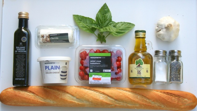 Vinegar Goat Cheese Cream Cheese Fresh Basil Tiny Rosa (Grape) Tomatoes Olive Oil Garlic Salt & Pepper Bread