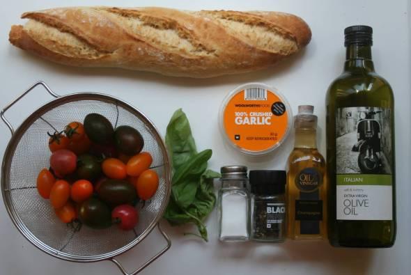 Bread Tomatoes Olive Oil Garlic Fresh Basil Balsamic Vinegar S&P