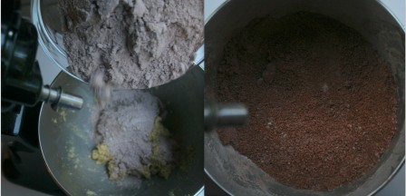 Add the chocolate flour mixture the sugar butter mixture and mix well.