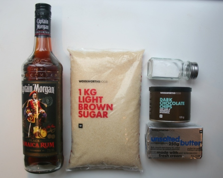 Rum Glaze: Rum - Sugar - Salt - Chocolate Chips - Butter