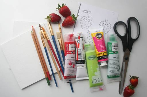 6x6 Canvas Panels Colored Pencils Assorted Paintbrushes Assorted Colors Acrylic Paints Strawberry Stencils Scissors