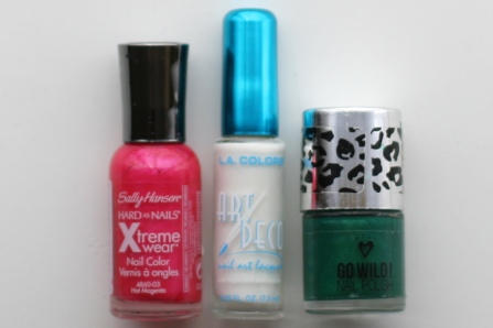 Pink or Red Nail Polish - White Nail Polish - Green Nail Polish