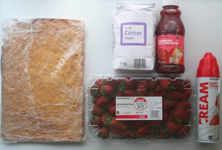 White Sheet Cake - castor Sugar or Strawberry Juice - Strawberries
