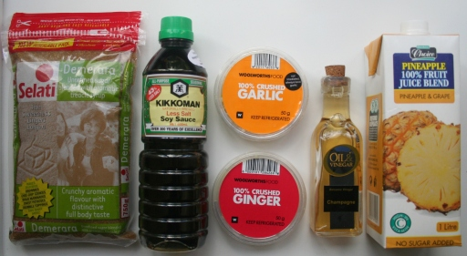 Brown Sugar - Light Soy Sauce - Minced Garlic - Minced Ginger - Cider Vinegar - Pineapple