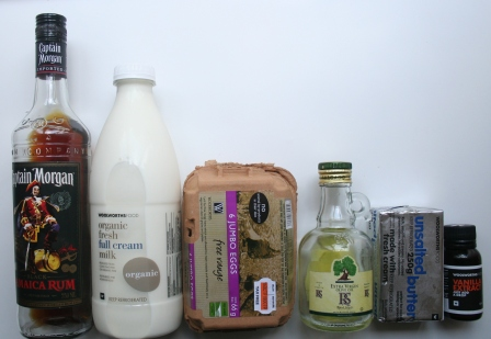 Liquid Ingredients: Dark Rum - Mik - Eggs- Vegetable Oil - Butter - Vanilla