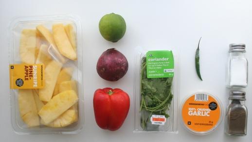 Pineapple - Lime - Red Onion - Red Pepper - Fresh Coriander (Cilantro) - Chili - Garlic - S & P