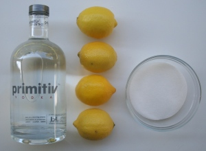 Vodka or Grain Alcohol- Lemon Peel - Sugar