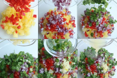 You don't want to make the pineapple salsa the day before. The red from the peppers may bleed into the pineapples. To a bowl, add the pineapple, the red peppers, red onion, coriander, chili garlic and lime juice.
