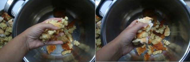 To an extra large bowl or large pot, add the crumpled cornbread and broken French bread.