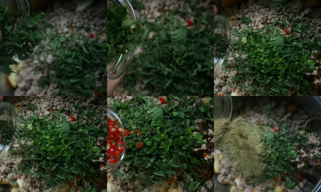 Add sage, parsley, thyme rosemary, poultry seasoning and dried sage.