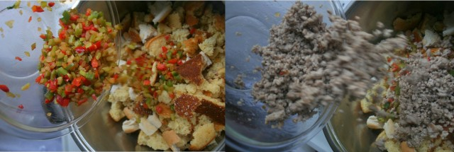 Add vegetable mixture and mince to the bread mixture.
