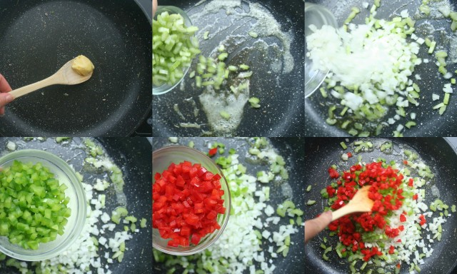 In the same pan add a tablespoon of butter. Then add celery, onion, green pepper and red pepper and sauté on medium heat until wilted.