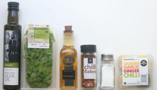 Olive Oil - Fresh Coriander (Cilantro) - Wine Vinegar - Red Pepper Flakes - Salt - Garlic - Chili