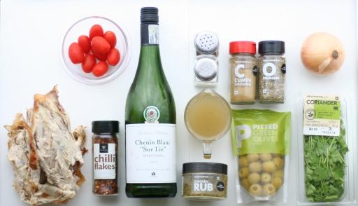 Turkey Filling: Turkey Carcass - Tomatoes -Pepper Flakes - White Wine - S&P - Stock - Poultry Spice (Optional) - Cumin - Oregano - Green Olives - Fresh Coriander (Cilantro)
