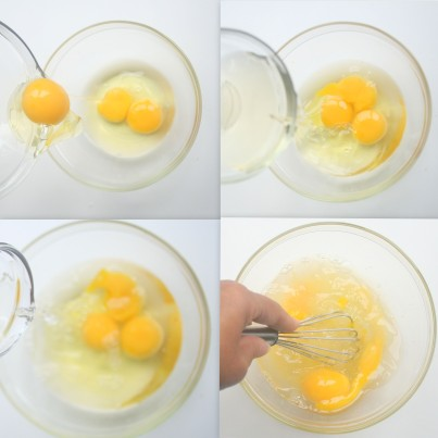 Add two eggs (not 3 - one of these had two yolks) to a medium sized bowl. Add wine and vinegar and stir.