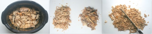 Once the meat has cooked until falling off the bone, separate the meat from the bones, skin and cartilage, then mince.