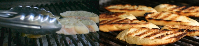 Place bread on grill. if your coals are pretty hot, flip them after about 30 seconds. watch them closely - they can scorch pretty quickly.