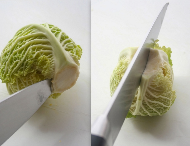 Carefully cut out fore. Then cut cabbage in half.